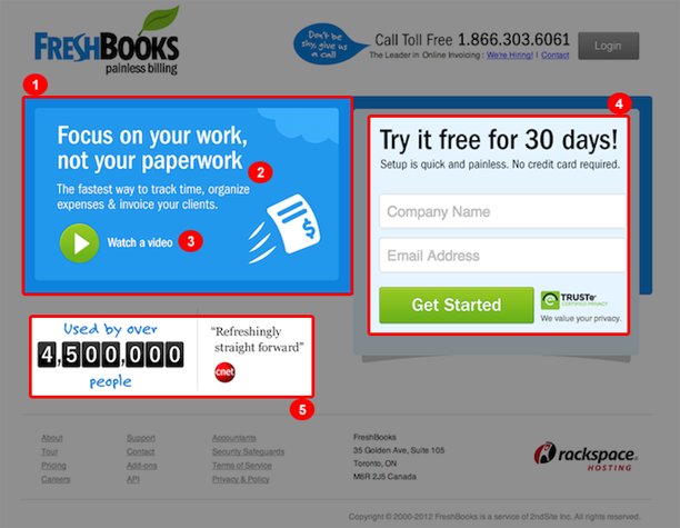 FreshBooks landing page example